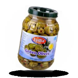Grüne Griechische Oliven Super Colossal mit Paprika