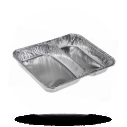 Aluminium Menüschalen 2-geteilt, flach, 355-504cc, 213 x 163 x 30mm