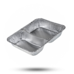 Aluminium Menüschalen 2-geteilt, tief, 550-415cc, 214 x 165 x 38mm (785/R)