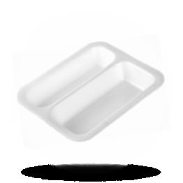 Siegelschalen 2-fach unterteilt 605 weiß