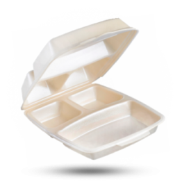 Dinnerbox 3-geteilt, laminiert, beige