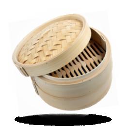 """Bambusdampfkörbchen 10"""" Ø 25cm Set: 2 Körbe, 1 Deckel"""