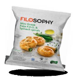 Filo Mini Spiraltörtchen mit Feta-Käse, Spinat und Nativem Olivenöl Extra, tiefgefroren