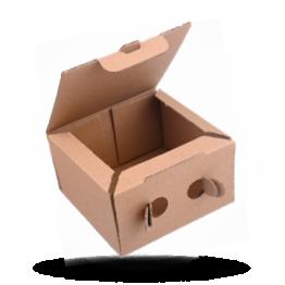 Snackbox Pappe Kraft Braun, 13x13x7,5cm